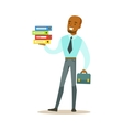 Man With Suitcase Holding Pile Of Folders Part Of vector image vector image