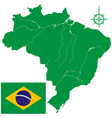 Map of Brazil and flag vector image vector image