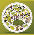 olive oliveoil bottle with virgin oil and vector image vector image