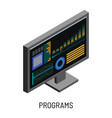 programs monitor with sound recording and tuning vector image