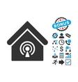 Radio Station Flat Icon with Bonus vector image