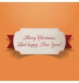 Realistic Christmas greeting Card and red Ribbon vector image vector image
