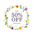 sale poster with flowers vector image vector image
