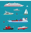 Sea ships flat icons vector image