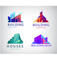set colorful real estate logos city vector image vector image