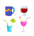 set glasses and mug flat design vector image