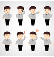 set of funny cartoon office worker in various pose vector image vector image