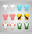 set of realistic sport t-shirts with bright vector image