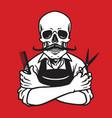 skull barber logo template vector image vector image