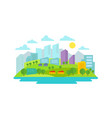 small eco-friendly city in the background of vector image vector image