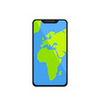 smartphone with world map gps navigator on screen vector image vector image