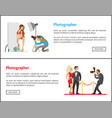 studio photographer and paparazzi banners set vector image vector image