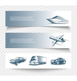 three isolated transport banners set vector image vector image