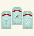 Vintage christmas gift tags with deer holly and vector image