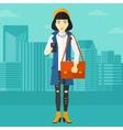 Woman using smartphone vector image vector image