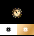 y gold letter monogram gold circle lace ornament vector image vector image