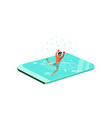 young man drowned in the smartphone vector image vector image