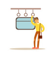 young man sleeping in the train vector image vector image