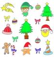 Cute color christmas set doodle element vector image