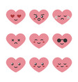 cute cartoon pink heart character emoji vector image