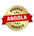 Angola round golden badge with red ribbon vector image vector image