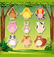 animal sticker on nature background vector image vector image