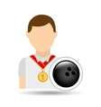 athlete medal bowling ball icon graphic vector image