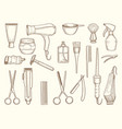 barber shop collection drawing accessories vector image vector image