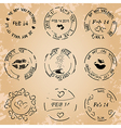 black post stamps for valentine day - grunge vector image
