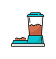 bowl with pets food cats or dogs automatic feeder vector image