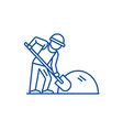 builder working with shovel line icon concept vector image vector image