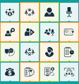 business management icons set with cash flow vector image