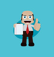 businessman manager at work holding report book vector image
