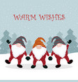 christmas winter card with gnome vector image vector image