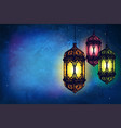 cover card with lanterns on a dark background vector image