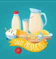 dairy products poster vector image vector image