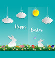 easter eggs on green grass with white rabbit vector image vector image