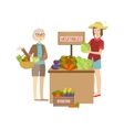Farmer Vegetables Stand On The Outdoors Market vector image vector image