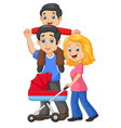 Father giving his son piggyback ride vector image vector image