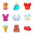feminine gender icons set cartoon style vector image vector image