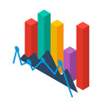 financial graph icon isometric style vector image vector image