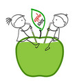 girl and boy drinking apple juice vector image vector image
