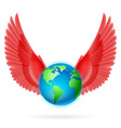 Globe with red wings on white vector image
