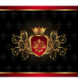 golden ornate frame with crown vector image vector image