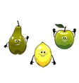 Green pear apple and yellow lemon fruits vector image