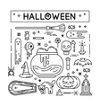 Happy halloween lined icons set vector image