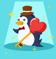 happy valentines day with penguin and heart key vector image vector image