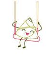 Kawaii happy rice dumpling in swing play cartoon