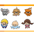 kids and pets cartoon set vector image vector image