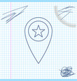 map pointer with star line sketch icon isolated on vector image